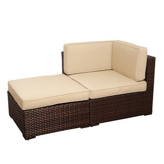 Atlantic Modena 2-piece Brown Wicker Seating Set with SUNBRELLA Antique Beige Cushions