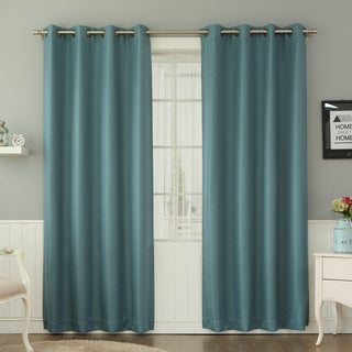 Aurora Home Basketweave Linen Look Room Darkening Blackout Grommet Curtain Pair
