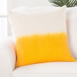 Handmade Abstract Pattern Cotton Yellow 20-inch Throw Pillow