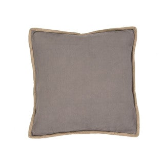 Handmade Solid Pattern Cotton Grey 22-inch Throw Pillow