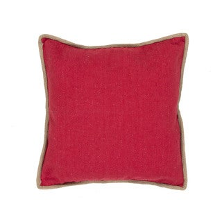 Handmade Solid Pattern Cotton Red 22-inch Throw Pillow