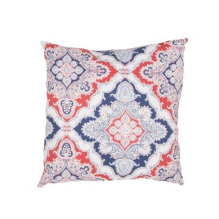 Handmade Floral Red/Blue 18-inch Throw Pillow