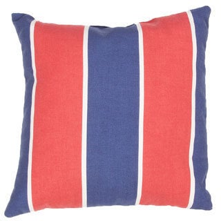 Handmade Stripe Red/Blue 18-inch Throw Pillow