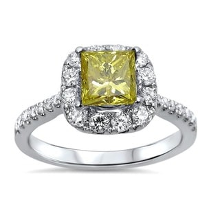18k White Gold 1 3/8ct TDW Certified Yellow and White Princess Diamond Ring (G-H, SI1-SI2)