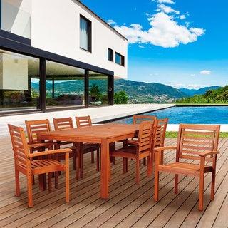 Amazonia Cesaro 9-Piece Eucalyptus Wood Rectangular Patio Dining Set