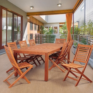 Amazonia Piazza 9-Piece Eucalyptus Wood Rectangular Patio Dining Set
