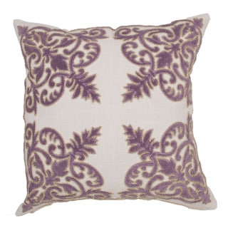 Handmade Purple Floral 22-inch Throw Pillow