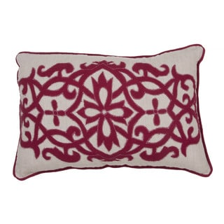 Handmade Floral Red 16-inch Throw Pillow