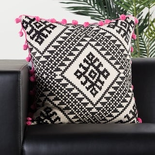 Handmade Geometric Black/ Pink 20-inch Throw Pillow