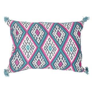 Handmade Geometric Blue/ Pink 14-inch Throw Pillow