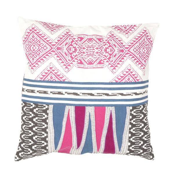 Handmade Tribal Pink/ Multi 22-inch Throw Pillow