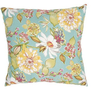 Handmade Floral Blue/ Multi 20-inch Throw Pillow