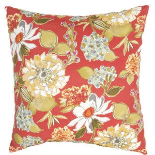 Handmade Floral Red/ Multi 20-inch Throw Pillow