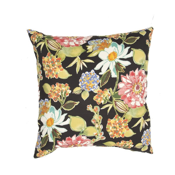 Handmade Floral Black/ Multi 20-inch Throw Pillow