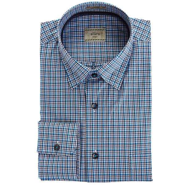 Alara Navy Blue Check With Hidden Button Collar And Contrast Trim Sport Shirt