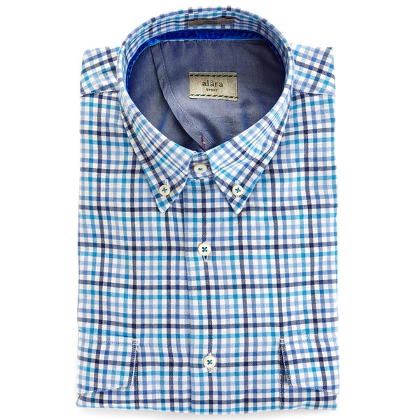 Alara Blue Cream Multi Check Button Down Twill Sport Shirt With Contrast Trims