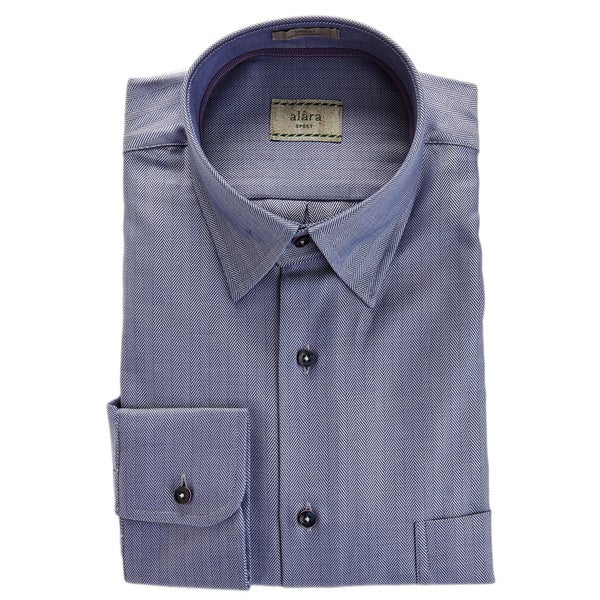 Alara Navy Hidden Button Collar Bold Herringbone Elegant Sport Shirt