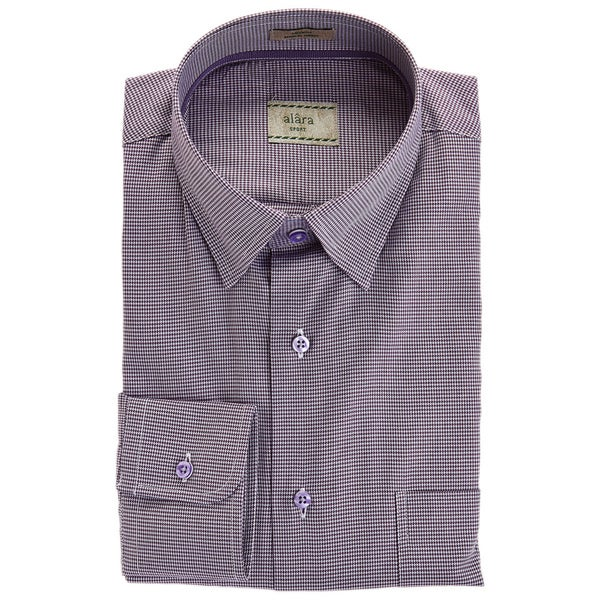 Alara Lavender Hidden Button Collar Micro Gingham Elegant Sport Shirt