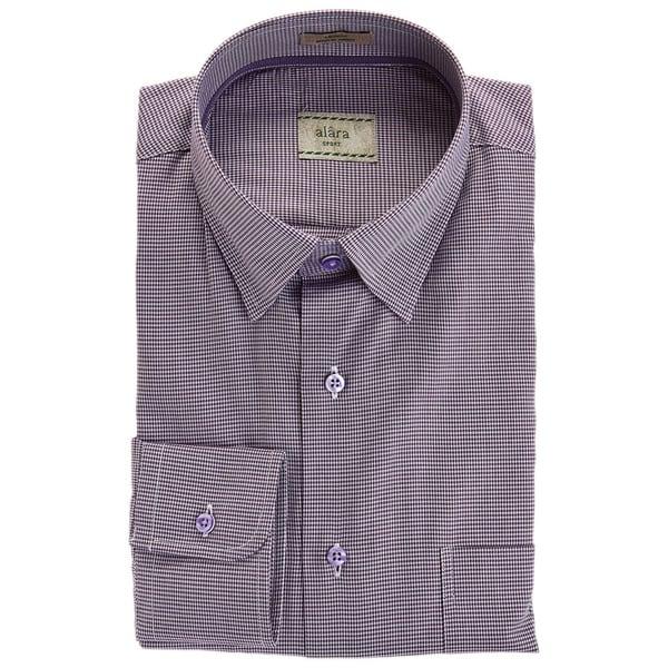 Alara Lavender Hidden Button Collar Micro Gingham Elegant Sport Shirt