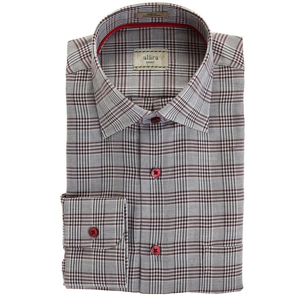 Alara Plum And Grey Textured Plaid Sport Shirt With Contrast Trims