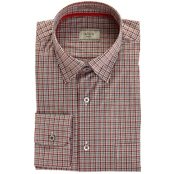 Alara Brick And Brown Check With Hidden Button Collar And Contrast Trim Sport Shirt