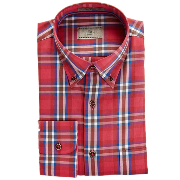Alara Rich Red And Blue Multi Plaid In Fine Egyptian Cotton Micro Twill Shirt