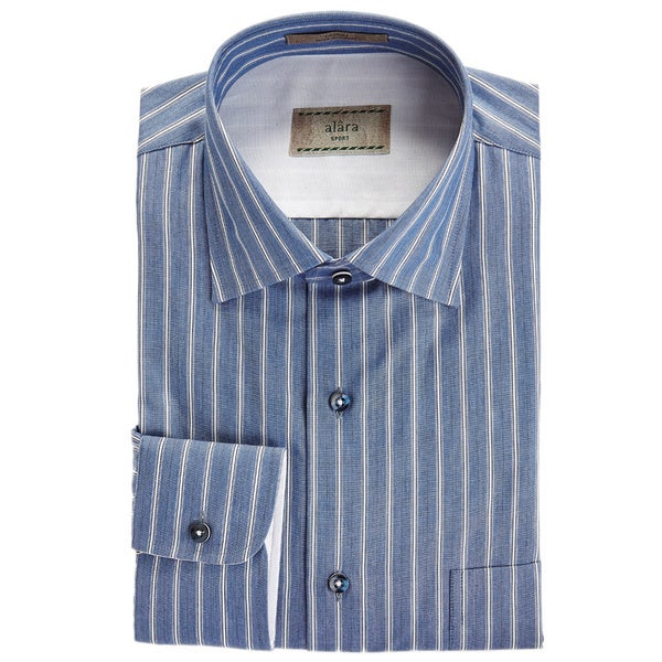 Alara Italian Stripe Chambray Spread Collar Shirt