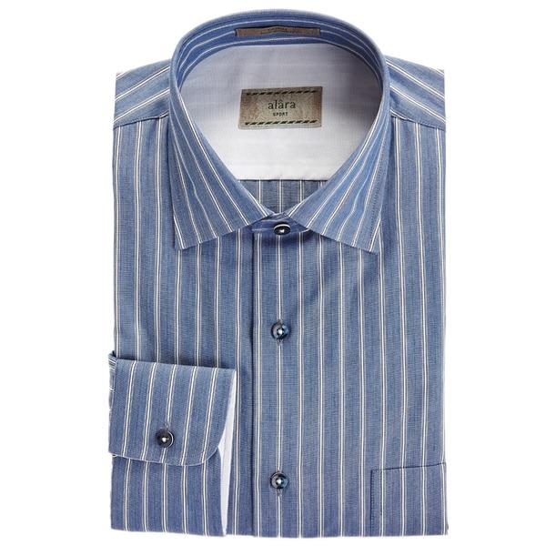 Alara Italian Stripe Chambray Spread Collar Shirt