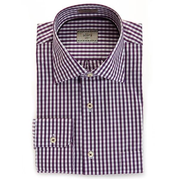 Alara Soft Wash Luxurious Eggplant Gingham Spread Collar Shirt
