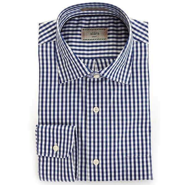 Alara Soft Wash Luxurious Midnight Blue Gingham Spread Collar Shirt