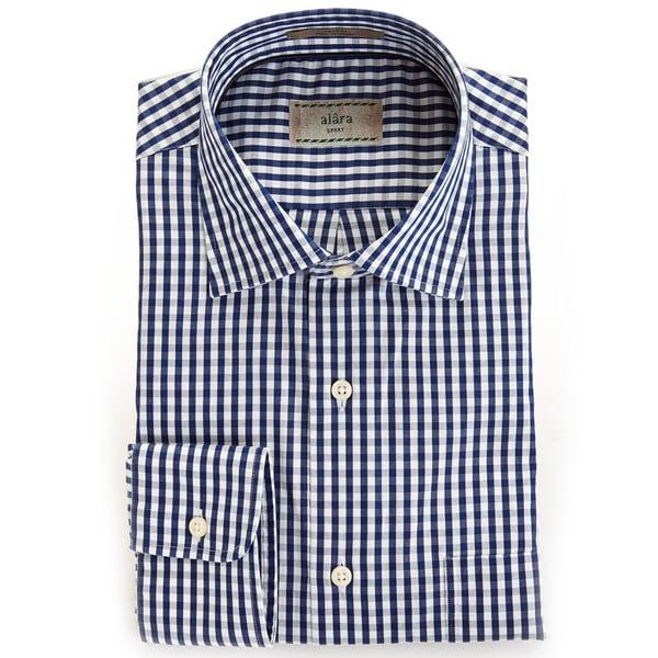 Alara Soft Wash Luxurious Midnight Blue Gingham Spread Collar Shirt