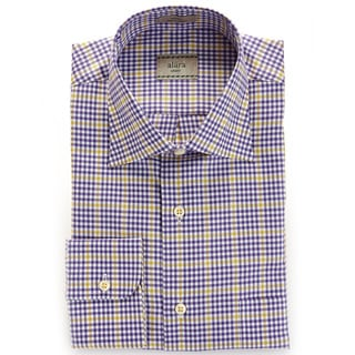 Alara Purple Checker Board Spread Collar Shirt