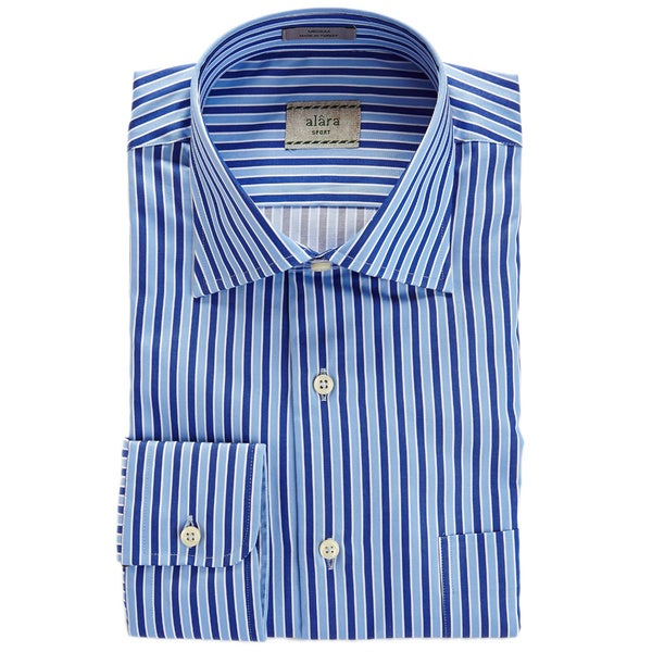 Alara Tonal Blues Satin Stripe Egyptian Cotton Shirt