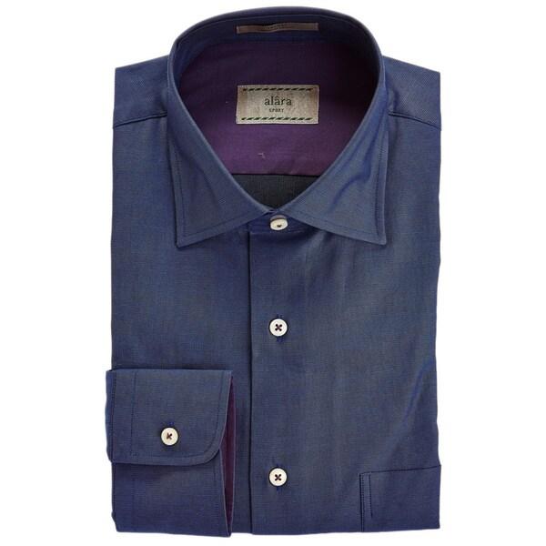 Alara Elegant Navy End On End Texture Shirt