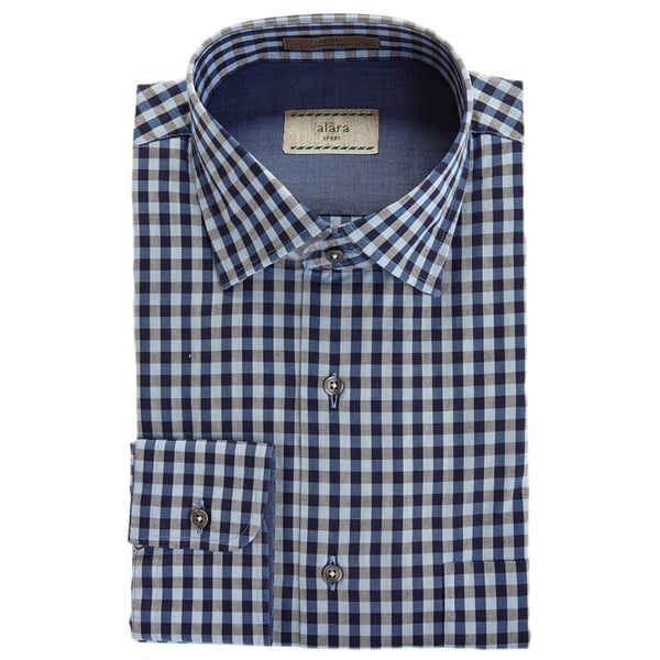 Alara Soft Wash Tonal Navy Melange Gingham Check Egyptian Cotton Poplin Shirt