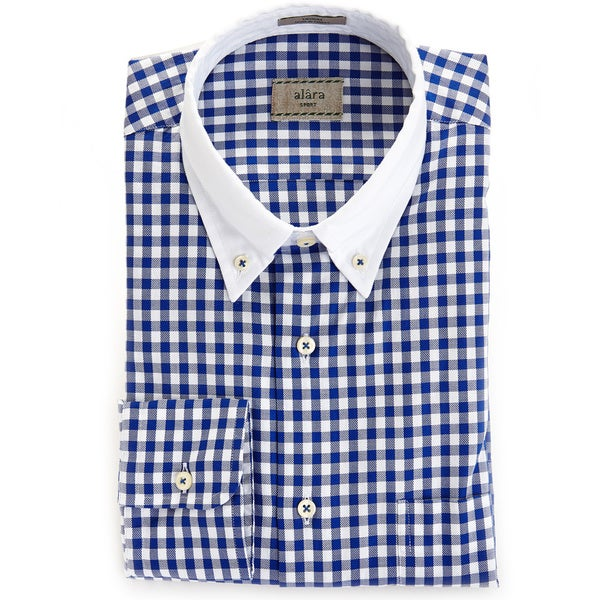 Alara Navy Air Washed Oxford Check Shirt