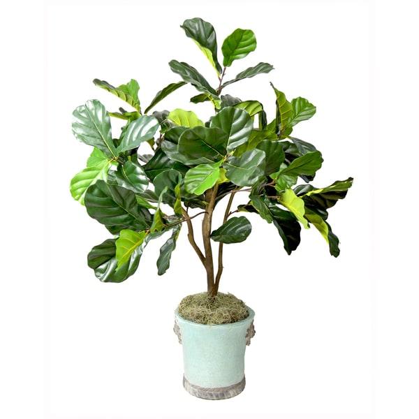 Faux Fiddle Leaf Fig Tree In Aqua Blue Embellished Pot