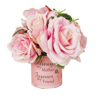 Pink Rose Silk Floral Arrangement with Vase