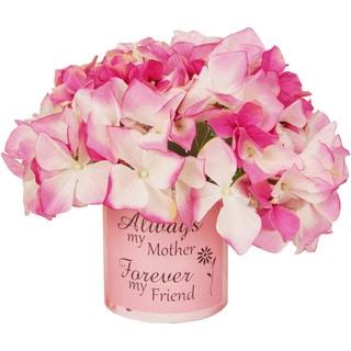 Pink Silk Hydrangea Floral Arrangement with Vase