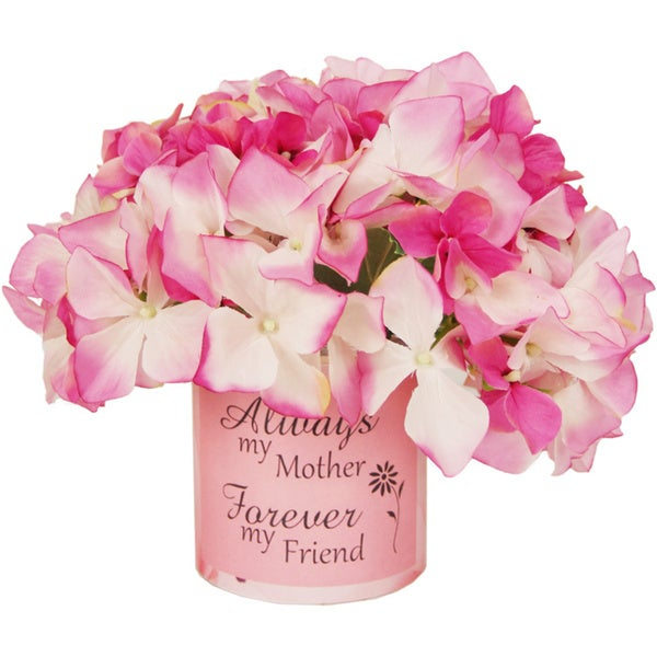 Pink Silk Hydrangea Floral Arrangement with Vase