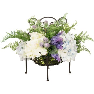 Lush Silk Floral Arrangement in Iron Handled Basket