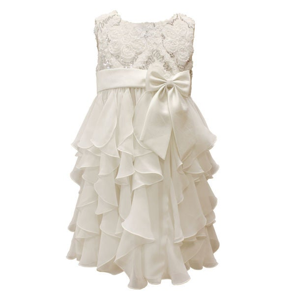 Mia Juliana Baby Girls' Chiffon Cascade Dress