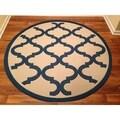 Woven Geometric Blue/ Beige Indoor/ Outdoor Rug (6'7 Round)