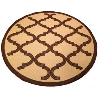 Woven Geometric Brown/ Beige Indoor/ Outdoor Rug (6'7 Round)
