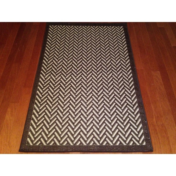 Woven Geometric Brown Beige Indoor Outdoor Area Rug 3
