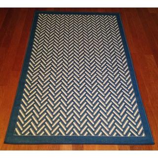 Woven Geometric Blue/ Beige Indoor/ Outdoor Area Rug (3' x 5')