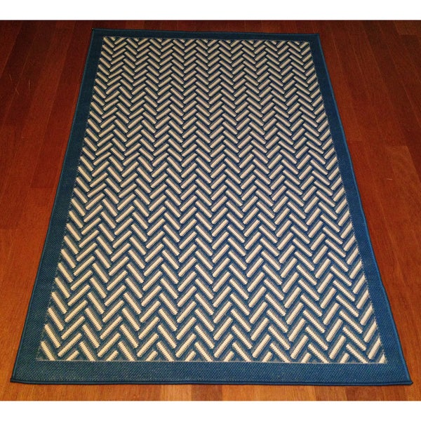 Woven Geometric Blue Beige Indoor Outdoor Area Rug 3 x