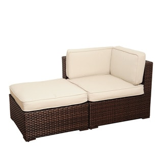 Atlantic Modena 2-piece Brown Wicker Seating Set with Off-White Cushions