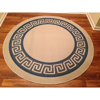 Woven Geometric Blue/ Beige Indoor/ Outdoor Rug (6'6 Round)