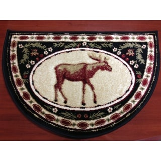 Moose Animal Red/ Beige Hearth Rug (2'2 x 3'2)